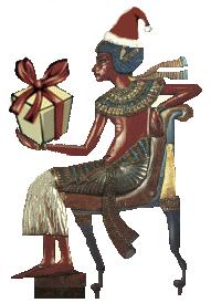 Tuanchamun mit Nikolaus-Mütze und Geschenk