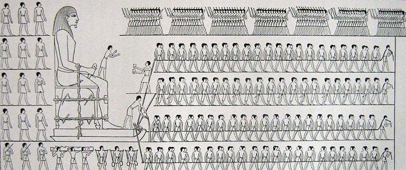 Der Transport eines Kolosses. Nachzeichnung aus dem Grab Djehutihotep