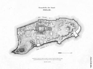 Alter Grundriss der Insel Philae Bild: Wikimedia Commons