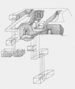 Die komplexe Struktur des Osirisgrab Zeichnung: Raffaella Carrera. Min Project  Bildquelle: LuxorTimes