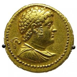 Goldene Münze, Oktadrachme, mit Bild von Ptolemaios IV.