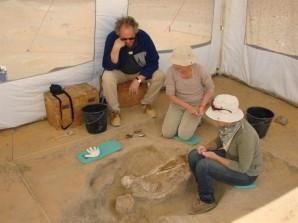 Anthropologen bei der Arbeit an Grab 11 in Gebel Ramlah. Foto von A. Czekaj-Zastawny