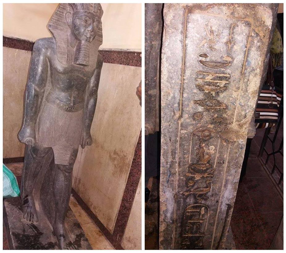 Die gefundene Statue von Amenophis III.  Bild: MSA