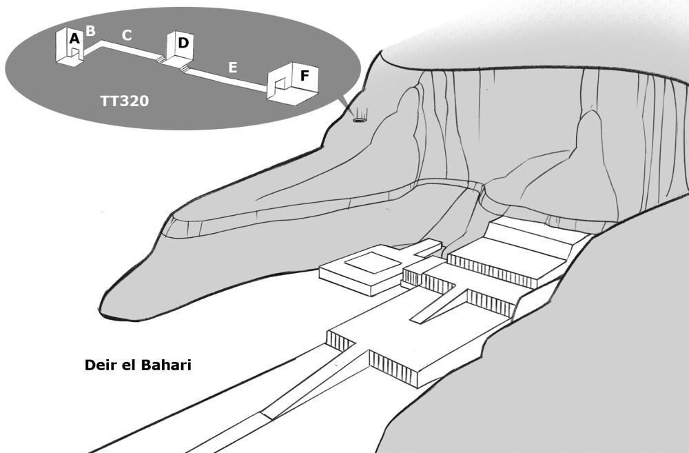 Das Grab TT320, die sogenannte Cachette von Deir el-Bahari. BIld: Luna92 bei Wikimedia Commons, CC BY-SA 3.0