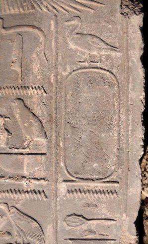 Die Kartuschen von Hatschepsut wurden von ihrem Nachfolger Thutmosis III. ausgekratzt, dennoch kann man noch schemenhaft die ursprünglichen Zeichen der Königin erkennen. Bild: MSA