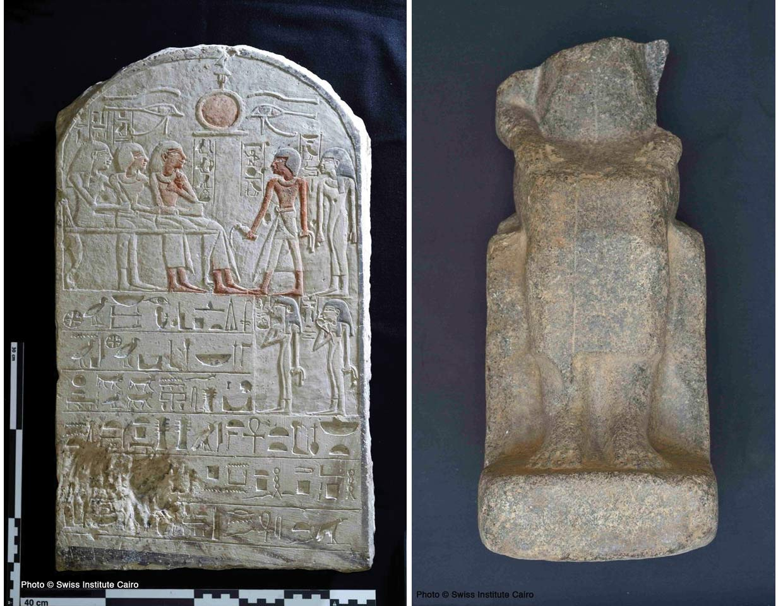 Stele und der untere Teil einer Statue. Fotos: MSA/Swiss Institute Kairo