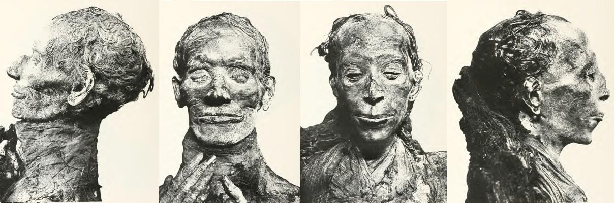 Die Mumien von Juja (li) und Tuja (re). Bilder aus M.J.E. Quibell: Tomb Of Yuaa And Thuiu, Kairo 1908