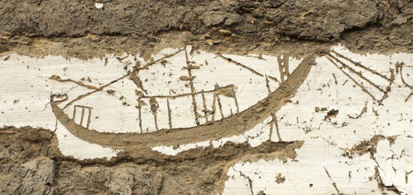 Boot mit Kabine und Endstück am Bug. Bildnutzung m.frdl.Gen. des Museums der Universität von Pennsylvania