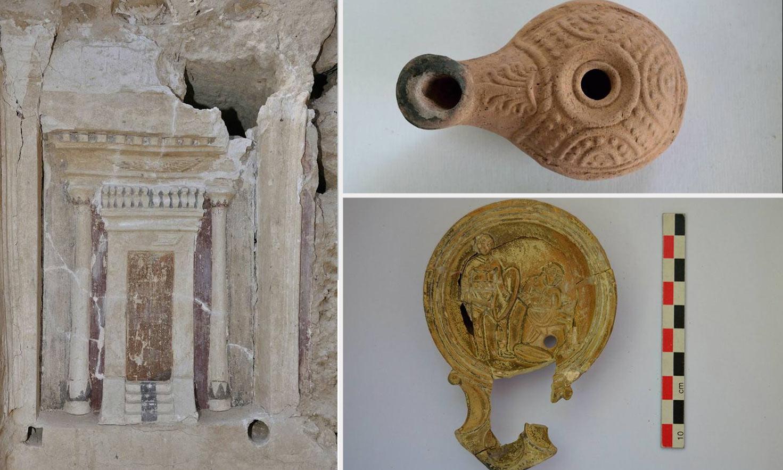 Griechisch Römischer Grabstein In Tempelform Bei Alexandria Entdeckt